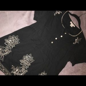 Black Tunic with white embroidery